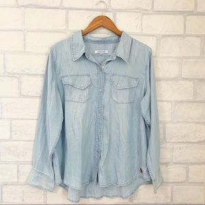 Peace Love World | Plus Size Chambray Button Up